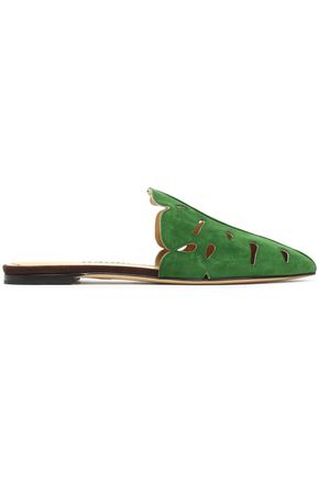 CHARLOTTE OLYMPIA Laser-cut suede slippers