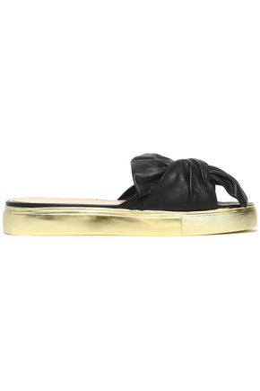 CHARLOTTE OLYMPIA Metallic knotted leather slides