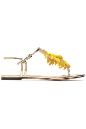 CHARLOTTE OLYMPIA Embellished metallic leather sandals