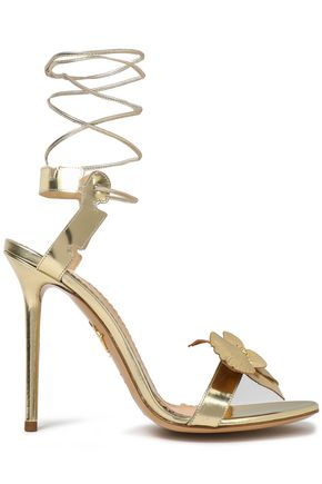 CHARLOTTE OLYMPIA Lace-up floral-appliquéd metallic leather sandals
