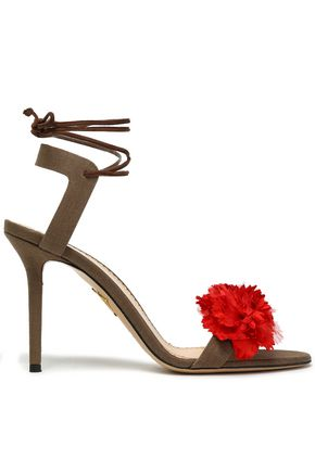 CHARLOTTE OLYMPIA Lace-up floral-appliquéd canvas sandals