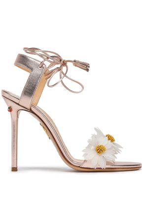 CHARLOTTE OLYMPIA Floral-appliquéd metallic leather sandals