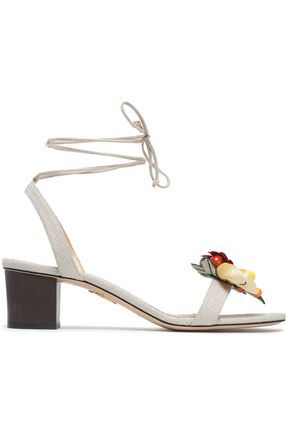 CHARLOTTE OLYMPIA Appliquéd canvas sandals