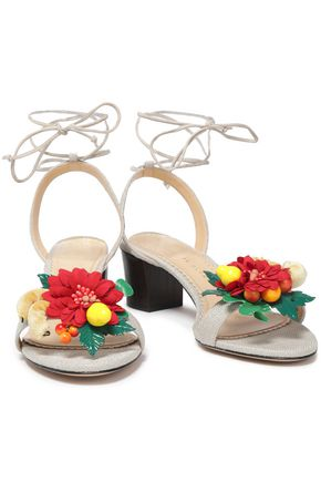 CHARLOTTE OLYMPIA Appliquéd canvas sandals