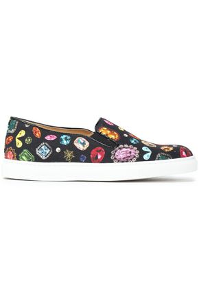 CHARLOTTE OLYMPIA Printed canvas slip-on sneakers
