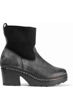 RAG & BONE Studded suede-paneled leather ankle boots