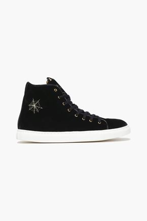 CHARLOTTE OLYMPIA Embroidered velvet high-top sneakers