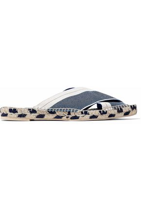 STELLA McCARTNEY Two-tone canvas espadrille slides