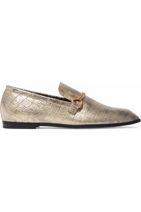 STELLA McCARTNEY Chain-trimmed metallic faux croc-effect leather loafers