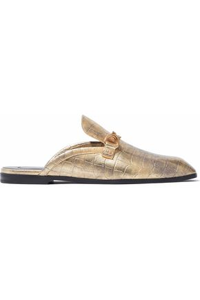 WOMAN CHAIN-TRIMMED METALLIC FAUX CROC-EFFECT LEATHER SLIPPERS METALLIC