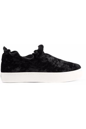OPENING CEREMONY Ruffle-trimmed crushed-velvet platform slip-on sneakers