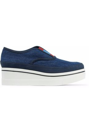 STELLA McCARTNEY Faux suede-trimmed denim slip-on platform sneakers