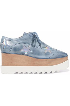 STELLA McCARTNEY Metallic appliquéd distressed faux leather platform sneakers