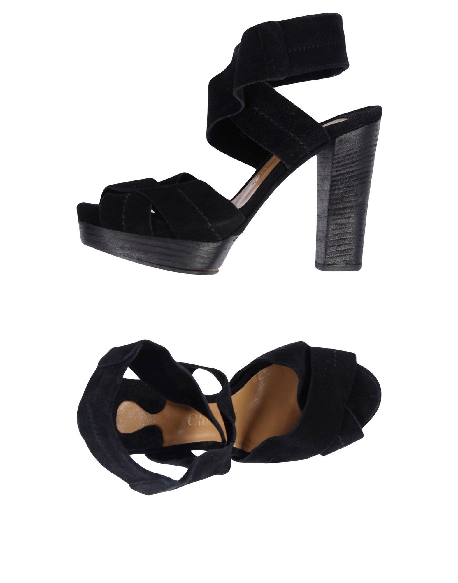 CHLOÉ Damen Sandale Farbe Schwarz Größe 6