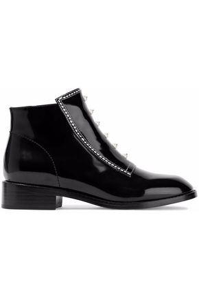 OPENING CEREMONY Faux pearl-embellished patent-leather ankle boots