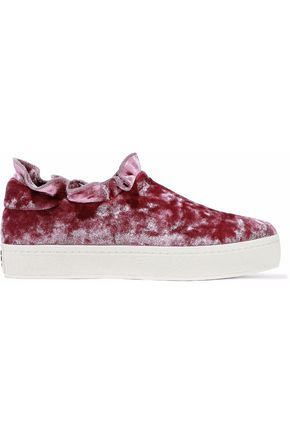 OPENING CEREMONY Ruffled velvet slip-on sneakers
