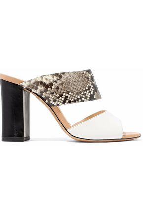 ALEXANDRE BIRMAN Kyara python and leather mules