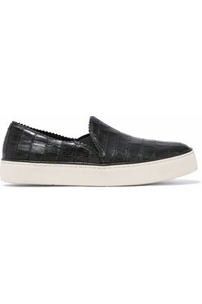 STUART WEITZMAN Nuggets croc-effect leather slip-on sneakers