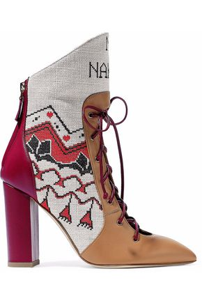 MALONE SOULIERS Embroidered canvas and leather ankle boots