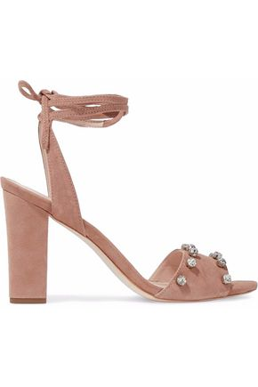 LOEFFLER RANDALL Crystal-embellished lace-up suede sandals