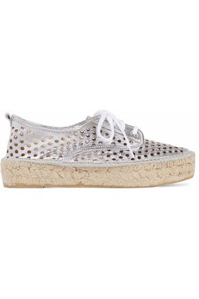 LOEFFLER RANDALL Metallic laser-cut leather platform espadrille sneakers