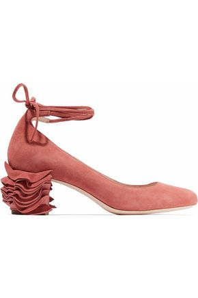 Lace Up Ruffled Suede Pumps by Loeffler Randall