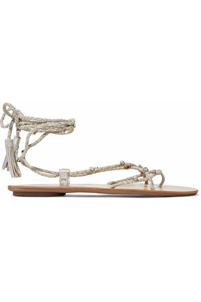 LOEFFLER RANDALL Bo crystal-embellished braided metallic suede sandals