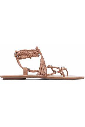 LOEFFLER RANDALL Crystal-embellished lace-up braided suede sandals
