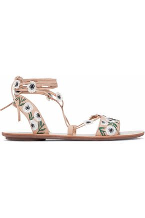 LOEFFLER RANDALL Floral-appliquéd embroidered leather lace-up sandals