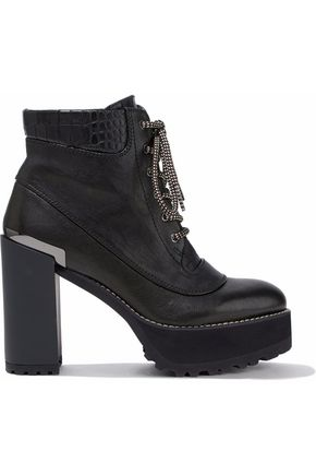 STUART WEITZMAN Rugged smooth and croc-effect leather platform ankle boots
