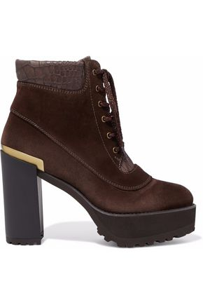 STUART WEITZMAN Nubuck and croc-effect leather platform ankle boots