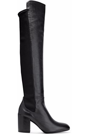 STUART WEITZMAN Leather and stretch-knit over-the-knee boots