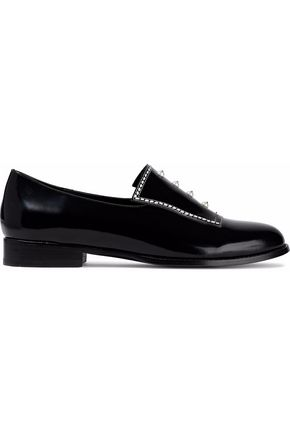 OPENING CEREMONY Faux pearl-embellished patent-leather brogues