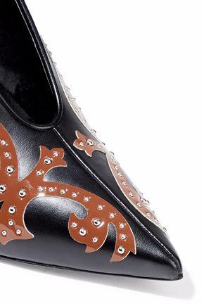 STELLA McCARTNEY Studded appliquéd faux leather pumps