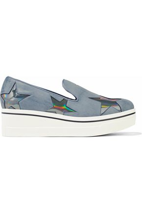 STELLA McCARTNEY Mélange appliquéd faux-leather platform sneakers