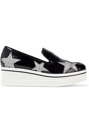 STELLA McCARTNEY Cutout woven and glossed-leather platform loafers