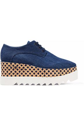 STELLA McCARTNEY Laser-cut denim platform brogues
