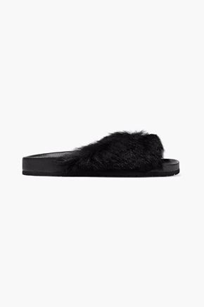 VINCE. Shearling and leather slides