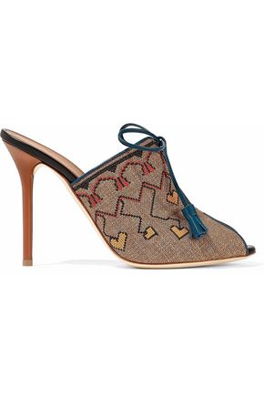 MALONE SOULIERS Leather-trimmed embroidered canvas mules