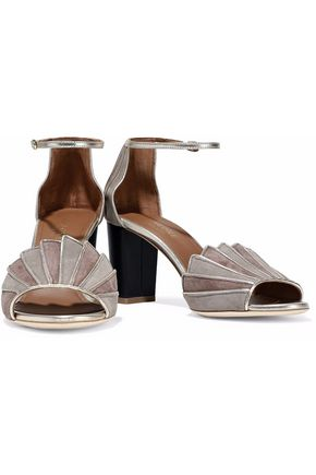 MALONE SOULIERS Connie City metallic leather-trimmed two-tone suede sandals