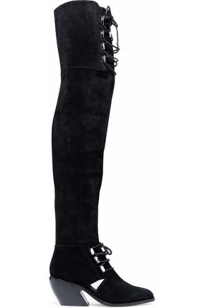 OPENING CEREMONY Cutout lace-up suede over-the-knee boots