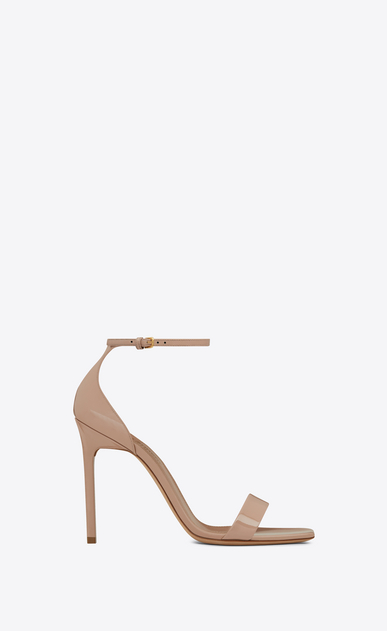 SAINT LAURENT Amber Woman amber 105 sandal in beige rosé patent leather a_V4