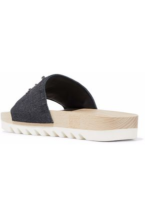 BRUNELLO CUCINELLI Embellished denim slides