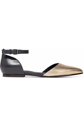 BRUNELLO CUCINELLI Embellished smooth and metallic cracked-leather point-toe flats
