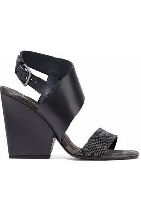 BRUNELLO CUCINELLI Bead-embellished suede-trimmed leather sandals