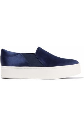 VINCE. Satin platform slip-on sneakers