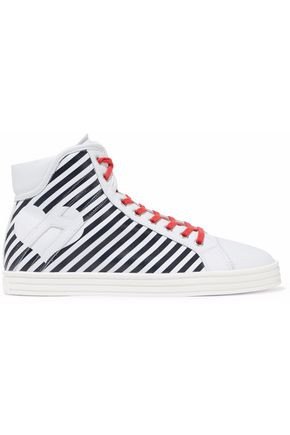 HOGAN Striped leather high-top sneakers