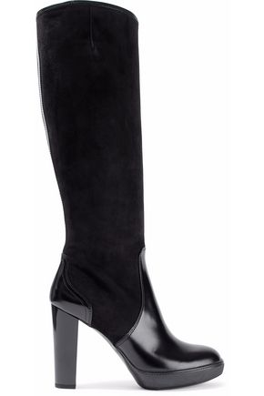 HOGAN Leather and suede platform knee boots