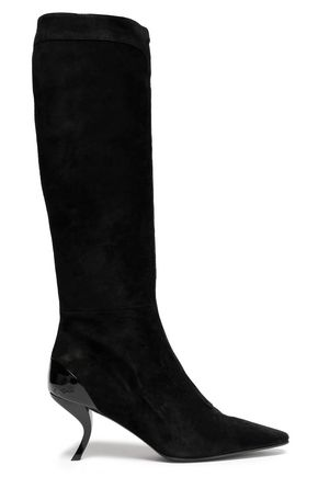 ROGER VIVIER Patent leather-trimmed suede knee boots