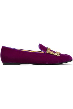 ROGER VIVIER Embellished embroidered velvet slippers